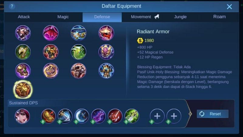 radiant armor mobile legends